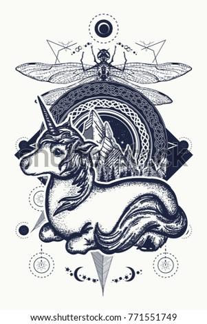 magic unicorn  dragonfly and