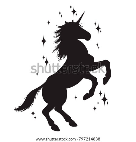 Magic unicorn silhouette, Stylish icons,vintage, background, horses tattoo. Hand drawn unicorn vector illustration, outline black.