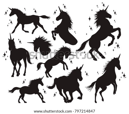 Magic unicorn silhouette, Stylish icons,vintage, background, horses tattoo. Hand drawn unicorn vector illustration, outline black.