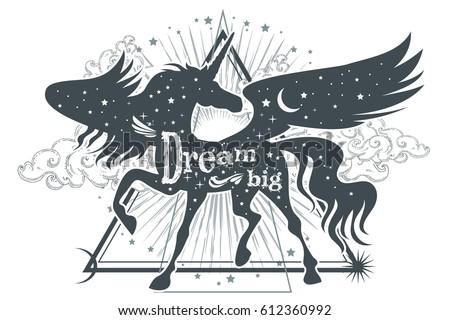 magic unicorn silhouette with