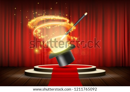 Magic wand and hat on stage with curtain. Focus and entertainment. Stock vector illustration.