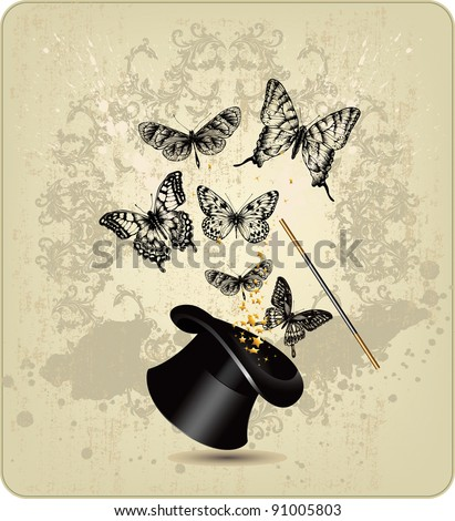 Magic wand and hat with butterflies on a vintage background