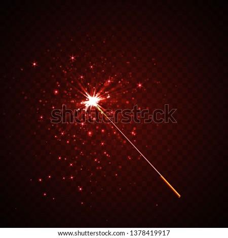 Magic wand isolated on black transparent background. Vector illustration.