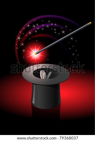 Magic wand performing tricks on a top hat with stars