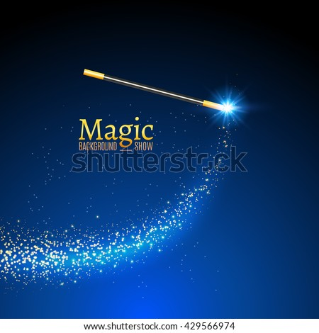 Magic wand vector background. Miracle magician wand magical stick with sparkle magic lights. Xmas winter mystery miracle