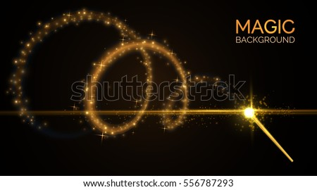 Magic wand with bright sparkles. Vector illustration
