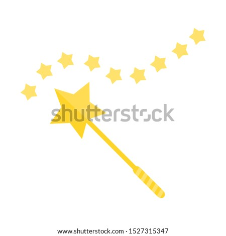 magic wand with golden magic star trace for funny magical decoration design isolated on white background. vector illustration