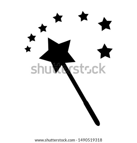 magic wand with magic star trace for funny magical decoration design isolated on white background. vector illustration