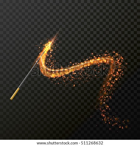 Magic wand with magical sparkle glitter trail. Vector spelling wand on transparent background.