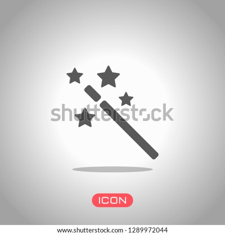 magic wand with stars. simple silhouette. Icon under spotlight. Gray background