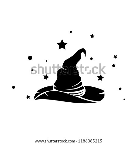 magic witch hat surrounded by stars vector, helloween symbol, evil costume, wand logo, magical cloting