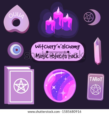 Magic witchery objects and symbols, vector pack. Crystals, candles and other pagan and occult elements.