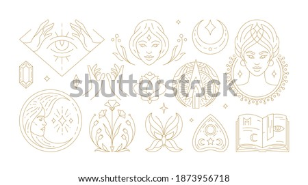 Magic woman boho vector illustrations of graceful feminine women and esoteric symbols set. Mysterious and witchcraft line art design elements. Bohemian silhouettes for greeting card, logo or poster. Stockfoto ©