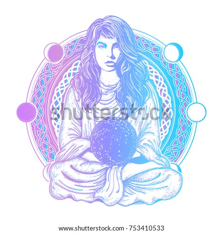 magic woman color tattoo and t