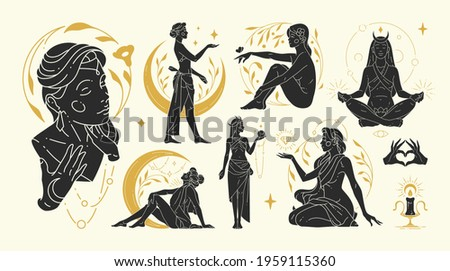 Magic woman vector illustrations of graceful feminine women and esoteric symbols set. Mysterious and witchcraft silhouette design elements for fashion print template or wall art poster decoration.