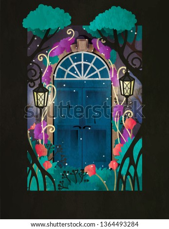 magic wooden door in fairy