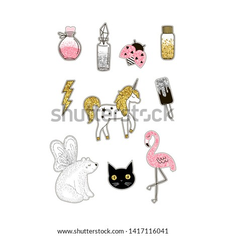 Magic world animals glittering stickers set. Cute unicorn with golden glitters. Polar bear with wings, stylized ladybug, flamingo. Bottles with magical dust. Postcard, t-shirt print