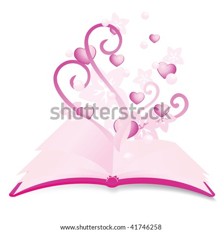 magical books with floral and hearts