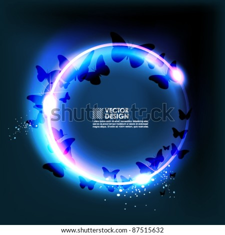 magical butterfly silhouette vector design - stock vector