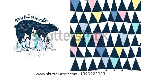 Magical childish fashion textile graphics set with t-shirt print and accompanied tileable background. Polar Bear sihuette with Northen lights and mountain landscape illustration. Geometric multicolour