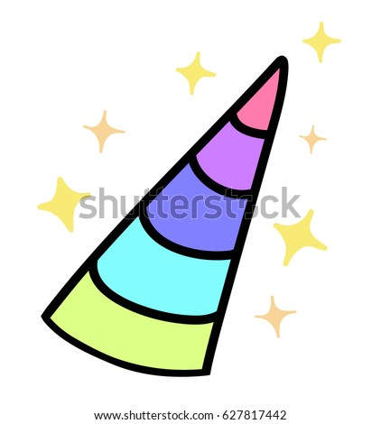 Magical colorful unicorn horn with stars, sparkle glitters, vector illustration doodle drawing, isolated on white / transparent background.