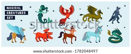 Magical creatures set. Mythological animals. Flat style vector illustration isolated on white background. horizontal page Сток-фото ©