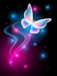 Magical dragonfly with sparkle and blazing trail flying in night sky among shiny glowing stars in cosmic space. Animal protection day concept.