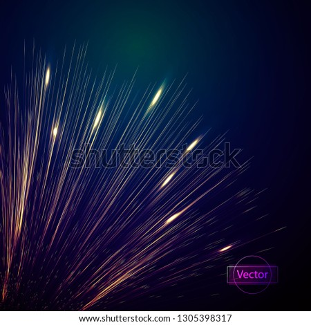 Magical explosion of bright lines from the center, bright postcard vector illustration. The concept of the beginning of life, the beginning of the project. #1305398317