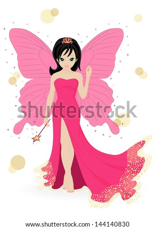 magical fairy in a pink dress