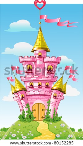 magical fairytale pink castle with  flags on fairytale summer background