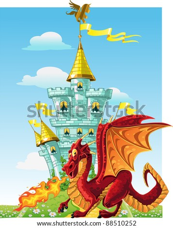 magical fairytale red dragon