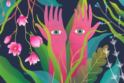 Magical nature and raised arms hands palms with eyes, surreal esoteric meditation or yoga horizontal background. Mysticism backdrop with magic flowers and hands with eyes watching.