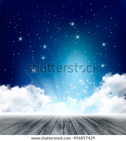 Magical night background with clouds. Vector. #496897429
