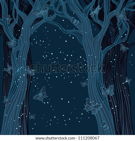 magical night background with