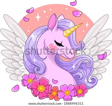Magical pink pegasus with anemones. Vector illustration isolated
