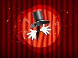 magical presentation with top hat, magic wand and hand