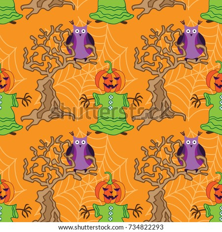 Magical Scarecrow with a pumpkin on his head and an owl sitting on a tree. Seamless pattern for Halloween party. Hand drawn doodle pumpkin. Funny and cute halloween symbol.
