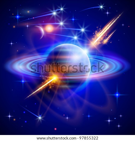 Magical space - stars, planets, comets, meteors, nebulae, constellations. Vector illustration / Eps10 - stock vector