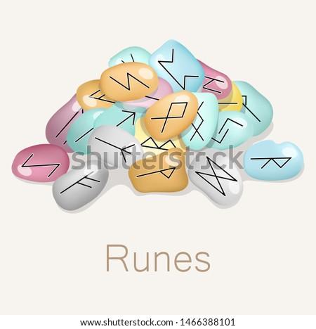 Magical stone runes. Divination on the runes. Learn the future. Magic. Fate