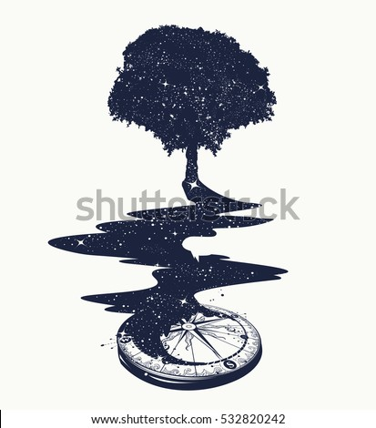 Magical tree tattoo art, river of stars, psychology symbol, tourism, travel. Surrealist concept of life and immortality. Star Compass t-shirt design