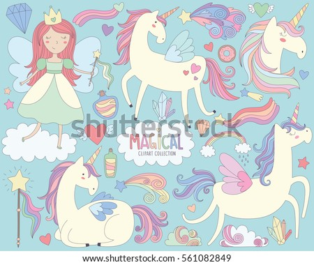Magical Unicorns and Fairy Princess Vector Illustration