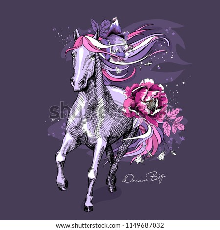 magical violet horse with a