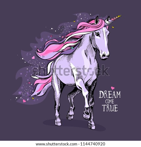 Magical violet unicorn with a bright pink starry mane, tail and a colored horn on a night background. Dream come true- lettering quote. Poster, t-shirt composition, handmade print. Vector illustration
