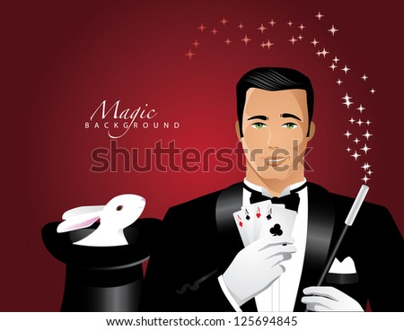 Magician and Magic Hat Background EPS 8 vector, no open shapes or paths, grouped for easy editing.