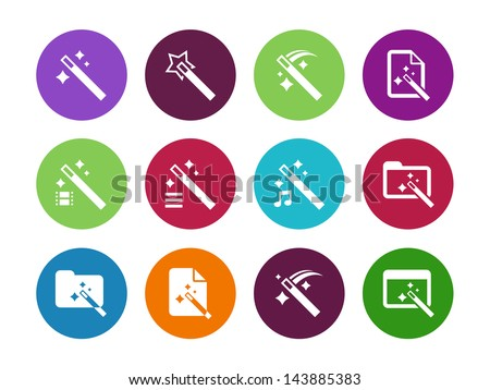 magician circle icons isolated