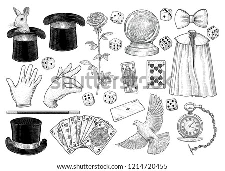 Magician equipment collection illustration, drawing, engraving, ink, line art, vector