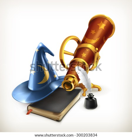 magician hat and telescope