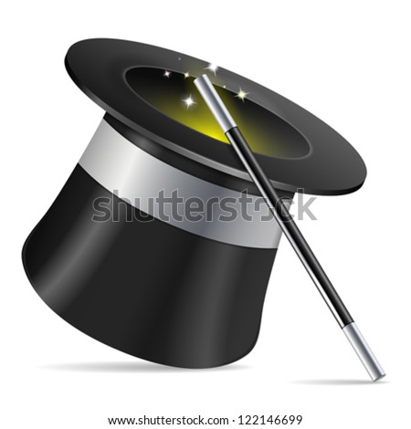 Magician Hat with Magician Wand, icon isolated on white background, vector illustration