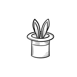 Magician hat with rabbit hand drawn outline doodle icon. Rabbit ears hidden in a magician hat vector sketch illustration for print, web, mobile and infographics isolated on white background.