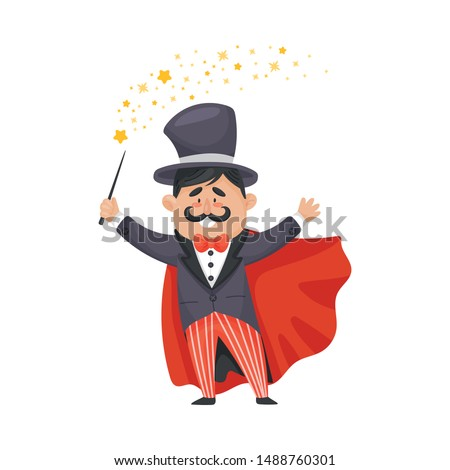 Magician in a cloak and hat. Vector illustration on a white background. Foto stock ©